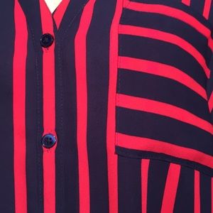Express Tops - Express navy / red striped blouse
